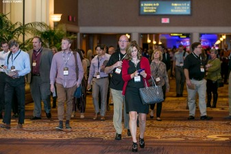 """Registrants exit the General Session #1 during the TEAMS Conference & Expo at Mandalay Bay Convention Center in Las Vegas, Nevada Monday, November 5, 2015."""