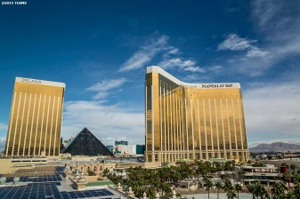 """Mandalay Bay, the Luxor, and the Delano are shown during the TEAMS Conference & Expo at Mandalay Bay Convention Center in Las Vegas, Nevada Monday, November 5, 2015."""