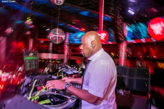 """A DJ plays music at the closing party during the TEAMS Conference & Expo at Drei's Night Club in Las Vegas, Nevada Thursday, November 12, 2015."""