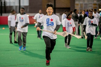 """""""A Boston Scholar Athlete participates in a hurling clinic at New Balance Field at Boston University in Boston, Massachusetts ahead of the AIG Fenway Hurling Classic and Irish Festival Tuesday, November 17, 2015."""""""