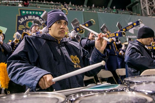 """The Notre Dame marching band performs during the Shamrock Series Football at Fenway game against Boston College at Fenway Park in Boston, Massachusetts Saturday, November 21, 2015."""