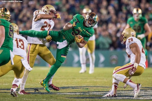 """Game action during the Shamrock Series Football at Fenway game between Notre Dame and Boston College at Fenway Park in Boston, Massachusetts Saturday, November 21, 2015."""