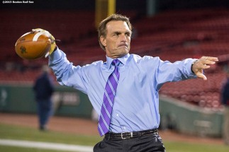 """Former Boston College quarterback Doug Flutie attends the Shamrock Series Football at Fenway game between Boston College and Notre Dame at Fenway Park in Boston, Massachusetts Saturday, November 21, 2015."""