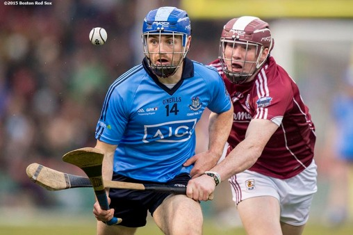 """""""Game action between Dublin and Galway during the AIG Hurling Classic and Irish Festival at Fenway Park in Boston, Massachusetts Saturday, November 22, 2015."""""""