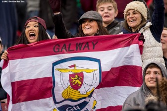 """Fans of Galway cheer during the AIG Hurling and Irish Festival between Galway and Dublin at Fenway Park in Boston, Massachusetts Saturday, November 22, 2015."""