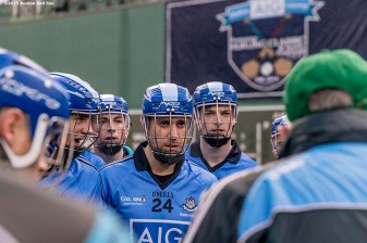 """The Dublin team looks on in the huddle during the AIG Hurling Classic and Irish Festival game against Galway at Fenway Park in Boston, Massachusetts Saturday, November 22, 2015."""