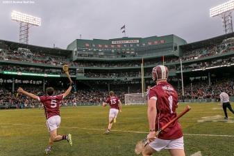 """Members of Galway celebrate after defeating Galway during the AIG Hurling Classic and Irish Festival game at Fenway Park in Boston, Massachusetts Saturday, November 22, 2015."""