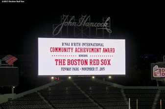 """The scoreboard is shown during a B'Nai B'Rith event at Fenway Park in Boston, Massachusetts Tuesday, November 17, 2015."""