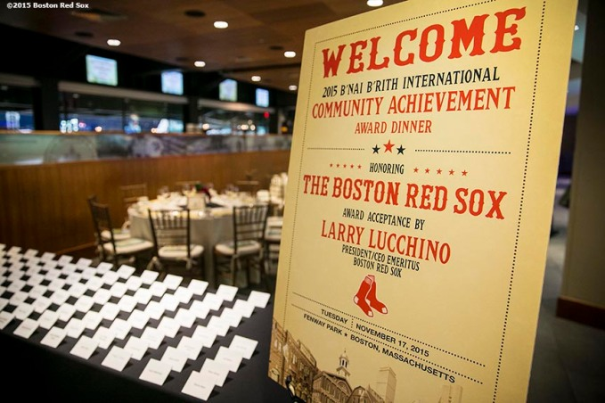 """Event decorations are shown during a B'Nai B'Rith event at Fenway Park in Boston, Massachusetts Tuesday, November 17, 2015."""