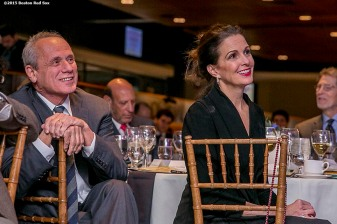 """Boston Red Sox President & CEO Emeretus Larry Lucchino is honored alongside Stacey Lucchino during a B'Nai B'Rith event at Fenway Park in Boston, Massachusetts Tuesday, November 17, 2015."""