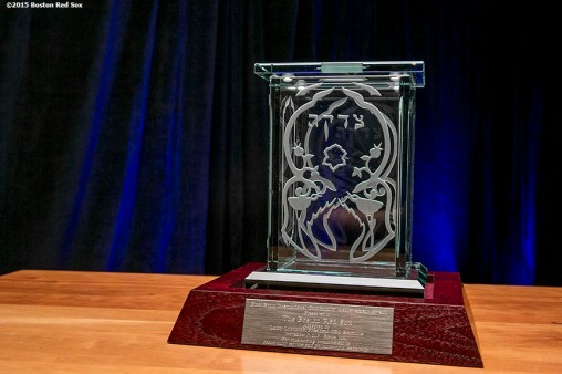 """An award honoring Boston Red Sox President & CEO Emeretus Larry Lucchino is shown during a B'Nai B'Rith event at Fenway Park in Boston, Massachusetts Tuesday, November 17, 2015."""