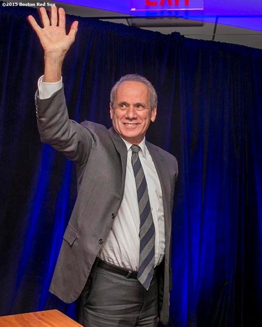 """Boston Red Sox President & CEO Emeretus Larry Lucchino is honored during a B'Nai B'Rith event at Fenway Park in Boston, Massachusetts Tuesday, November 17, 2015."""