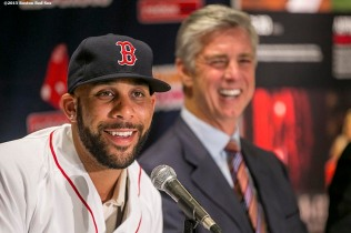 """Pitcher David Price addresses the media during a press conference after agreeing to a seven year contract with the Boston Red Sox at Fenway Park in Boston, Massachusetts Friday, December 4, 2015."""
