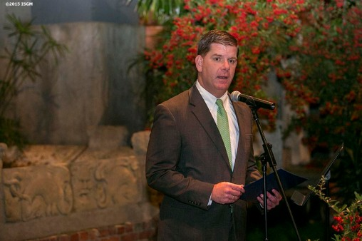 """Boston Mayor Marty Walsh speaks during a farewell celebration for Anne Hawley at the Isabella Stewart Gardner Museum in Boston, Massachusetts Tuesday, December 15, 2015."""