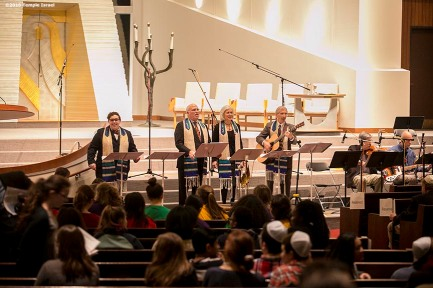"""The Clergy leads Qabbalat Shabbat services at Temple Israel in Boston, Massachusetts Friday, January 15, 2016."""