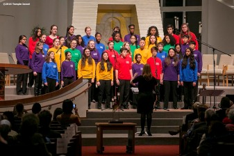 """A children's choir performs during Qabbalat Shabbat services at Temple Israel in Boston, Massachusetts Friday, January 15, 2016."""