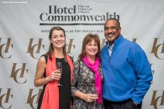 """Former Boston Red Sox left fielder Jim Rice poses with guests during the Hotel Commonwealth Sparkle & Glow grand opening party at Hotel Commonwealth in Boston, Massachusetts Thursday, January 21, 2016."""