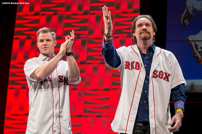 """Former Boston Red Sox third baseman Wade Boggs is presented with a jersey from current third baseman Brock Holt, which will be retired this year, at the NESN Town Hall during the 2016 Winter Weekend at Foxwoods Resort & Casino in Ledyard, Connecticut Friday, January 22, 2016."""