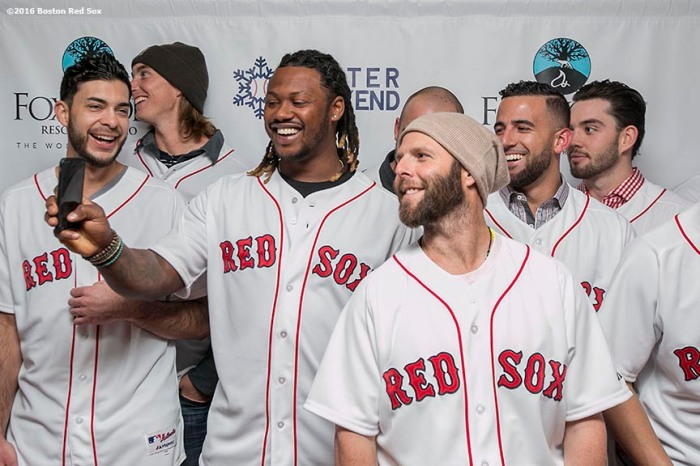 """""""Boston Red Sox left fielder Hanley Ramirez takes a selfie photograph with second baseman Dustin Pedroia and teammates at the NESN Town Hall during the 2016 Winter Weekend at Foxwoods Resort & Casino in Ledyard, Connecticut Friday, January 22, 2016."""""""
