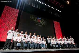"""The 2016 Boston Red Sox are introduced at the NESN Town Hall during the 2016 Winter Weekend at Foxwoods Resort & Casino in Ledyard, Connecticut Friday, January 22, 2016."""