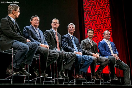 """Boston Red Sox Principal Owner John Henry, Chairman Tom Werner, President Sam Kennedy, President of Baseball Operations Dave Dombrowski, General Manager Mike Hazen, and Manager John Farrell speak at the NESN Town Hall during the 2016 Winter Weekend at Foxwoods Resort & Casino in Ledyard, Connecticut Friday, January 22, 2016."""