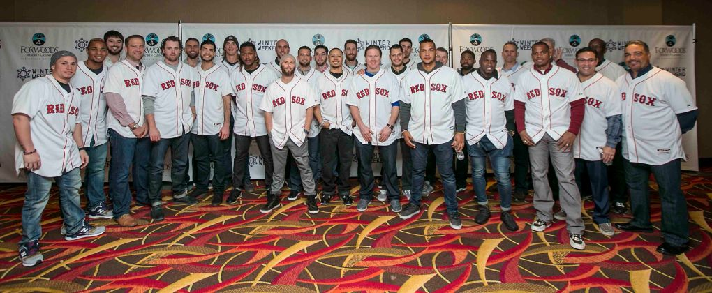 """Members of the Boston Red Sox pose for a team photograph at the NESN Town Hall during the 2016 Winter Weekend at Foxwoods Resort & Casino in Ledyard, Connecticut Friday, January 22, 2016."""