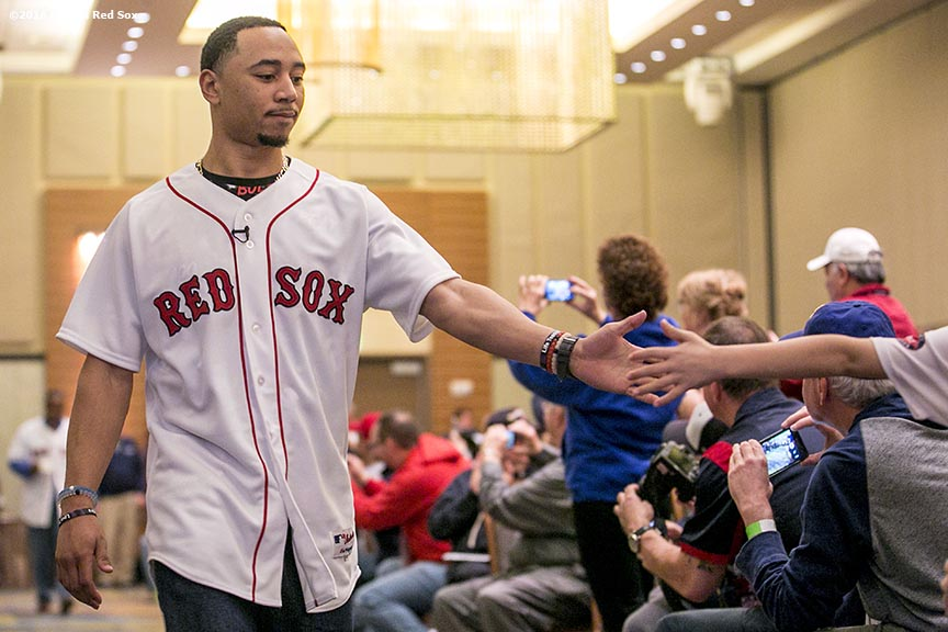"""Boston Red Sox center fielder Mookie Betts is introduced during the 2016 Winter Weekend at Foxwoods Resort & Casino in Ledyard, Connecticut Saturday, January 23, 2016."""