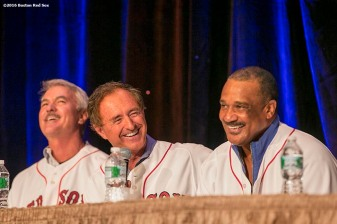 """Former Boston Red Sox outfielders Dwight Evans, Fred Lynn, and Jim Rice speak on a panel during the 2016 Winter Weekend at Foxwoods Resort & Casino in Ledyard, Connecticut Saturday, January 23, 2016."""