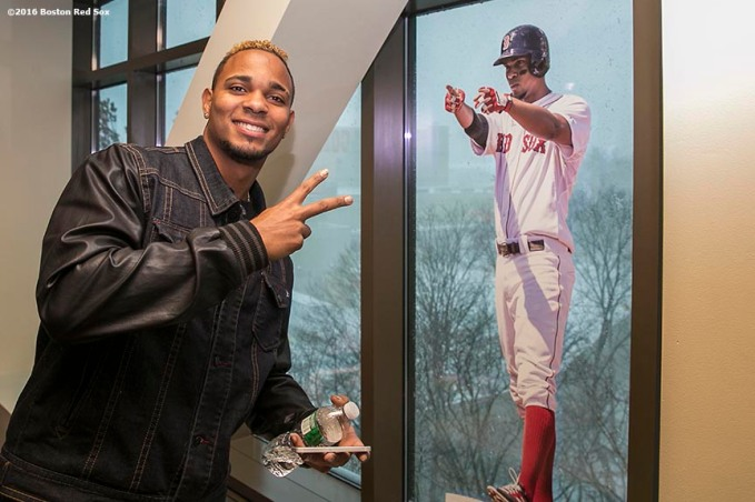 """Boston Red Sox shortstop Xander Bogaerts poses with a photo of himself during the 2016 Winter Weekend at Foxwoods Resort & Casino in Ledyard, Connecticut Saturday, January 23, 2016."""