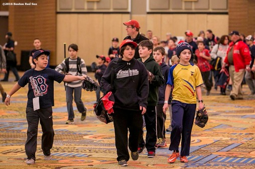 """Kids participate in a baseball clinic at the 2016 Winter Weekend at Foxwoods Resort & Casino in Ledyard, Connecticut Sunday, January 24, 2016."""