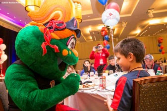 """Boston Red Sox mascot Tessie greets guests at a Breakfast with Wally at the 2016 Winter Weekend at Foxwoods Resort & Casino in Ledyard, Connecticut Sunday, January 24, 2016."""