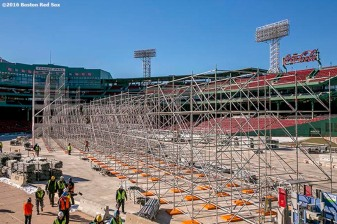 """Scaffolding is shown as construction continues on the Big Air at Fenway ski and snowboard ramp at Fenway Park in Boston, Massachusetts Thursday, January 21, 2016."""