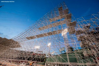 """Construction continues on the Polartec Big Air at Fenway ski and snowboard ramp at Fenway Park in Boston, Massachusetts Thursday, January 28, 2016. """