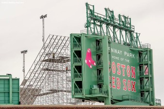 """Construction continues on the Polartec Big Air at Fenway ski and snowboard ramp at Fenway Park in Boston, Massachusetts Monday, February 1, 2016. """
