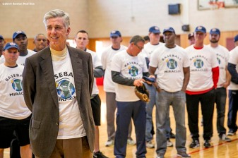 """Boston Red Sox President of Baseball Operations David Dombrowski speaks during a clinic Dexter High School in Brookline, Massachusetts Monday, February 2, 2016. """