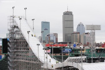"""Construction continues on the Polartec Big Air at Fenway ski and snowboard ramp at Fenway Park in Boston, Massachusetts Wednesday, February 3, 2016. """