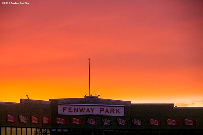 """The facade is shown while the sun sets as construction continues on the Polartec Big Air ski and snowboard ramp at Fenway Park in Boston, Massachusetts Friday, February 5, 2016."""