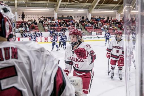 """Game action during a women's hockey game between Harvard University and Yale University at Harvard University in Cambridge, Massachusetts Saturday, February 6, 2016. """