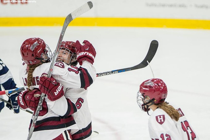 """Game action during a women's hockey game between Harvard University and Yale University at Harvard University in Cambridge, Massachusetts Saturday, February 6, 2016. """