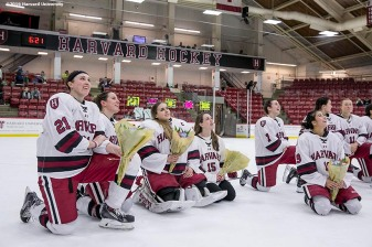 """A Senior Day ceremony is held following a women's hockey game between Harvard University and Yale University at Harvard University in Cambridge, Massachusetts Saturday, February 6, 2016."""