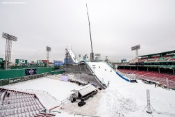 """Construction continues on the Polartec Big Air ski and snowboard ramp at Fenway Park in Boston, Massachusetts Tuesday, February 9, 2016."""