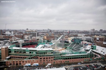 """""""The ramp is shown during the Polartec Big Air at Fenway ski and snowboard competition at Fenway Park in Boston, Massachusetts Wednesday, February 10, 2016. """""""