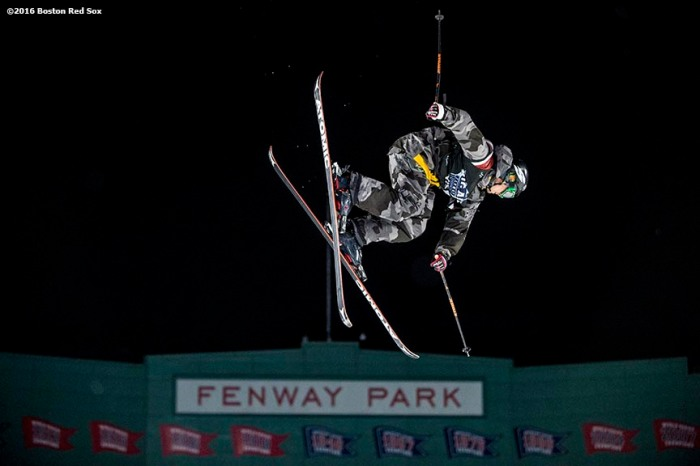 """A skier jumps off the ramp during the Polartec Big Air at Fenway ski and snowboard competition at Fenway Park in Boston, Massachusetts Wednesday, February 10, 2016."""
