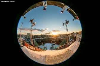 """""""A view from the top of the ramp as the sun sets during the Polartec Big Air at Fenway ski and snowboard competition at Fenway Park in Boston, Massachusetts Thursday, February 11, 2016."""""""