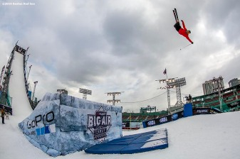 """A skier jumps off the ramp during the Polartec Big Air at Fenway ski and snowboard competition at Fenway Park in Boston, Massachusetts Thursday, February 11, 2016."""