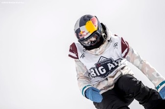 """""""A snowboarder jumps off the ramp during the Polartec Big Air at Fenway ski and snowboard competition at Fenway Park in Boston, Massachusetts Thursday, February 11, 2016."""""""