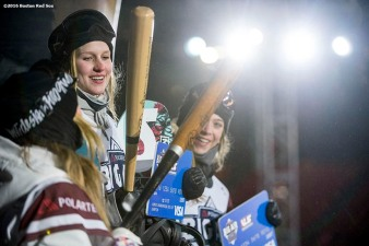"""The women's snowboard competition winners are announced during the Polartec Big Air at Fenway ski and snowboard competition at Fenway Park in Boston, Massachusetts Thursday, February 11, 2016."""