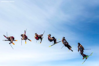"""""""A skier jumps off the ramp during the Polartec Big Air at Fenway ski and snowboard competition at Fenway Park in Boston, Massachusetts Friday, February 12, 2016. """""""