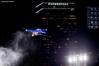 """""""A skier jumps off the ramp during the Polartec Big Air at Fenway ski and snowboard competition at Fenway Park in Boston, Massachusetts Friday, February 12, 2016."""""""