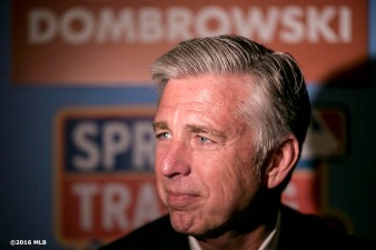 BONITA SPRINGS, FL. - FEBRUARY 19: Boston Red Sox President of Baseball Operations Dave Dombrowski speaks to media during the Grapefruit League Media Availability at the Hyatt Regency Coconut Point on Friday, February 19, 2016 in Bonita Springs, Florida. (Photo by Billie Weiss/MLB Photos via Getty Images)